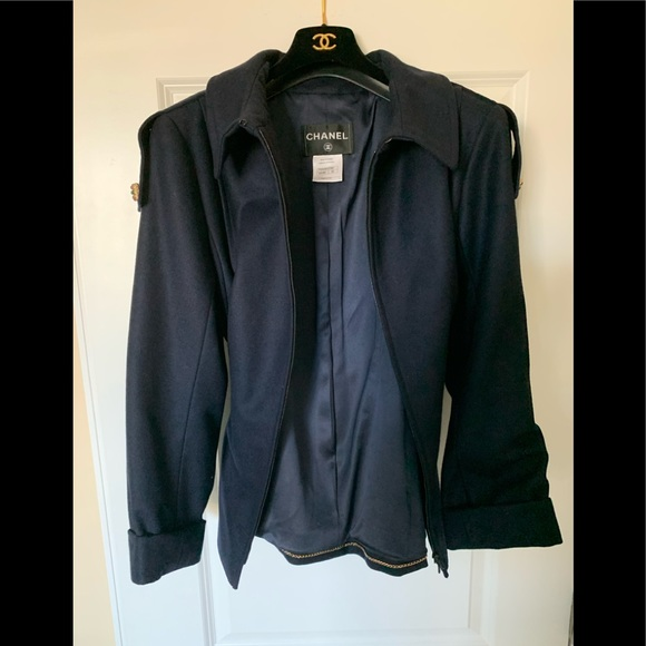 CHANEL Jackets & Blazers - Genuine CHANEL Navy wool cashmere pea jacket